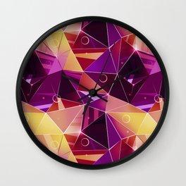 Polygonal pattern.Black, red, yellow, orange background. Wall Clock