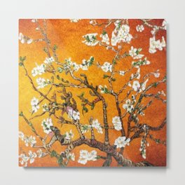 Vincent van Gogh Blossoming Almond Tree (Almond Blossoms) Orange Sky Metal Print