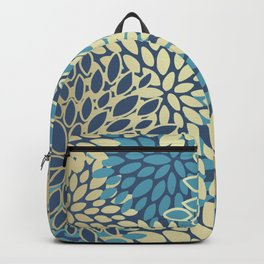 Christmas, Flower Garden, Gold and Blue, Floral Prints Backpack