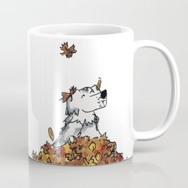 Saunders in Leaves Coffee Mug