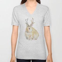 Watercolor Grumpy Jackalope Antler Bunny Unisex V-Neck