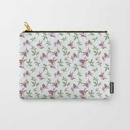 Hand painted pastel green pink watercolor leaves pattern Carry-All Pouch
