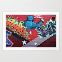 graffiti Art Prints featuring graffiti by mark ashkenazi