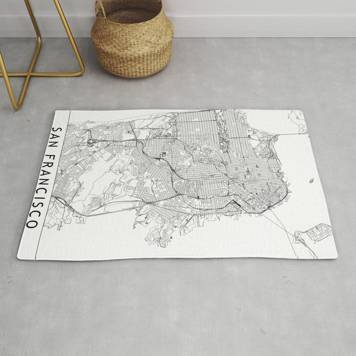 San Francisco White Map Rug