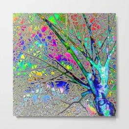 Digital Tree Neon Metal Print