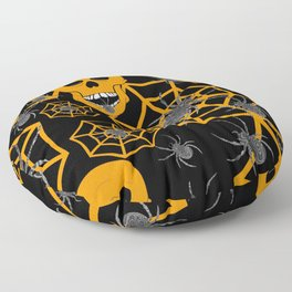 Orange Skull Halloween Floor Pillow