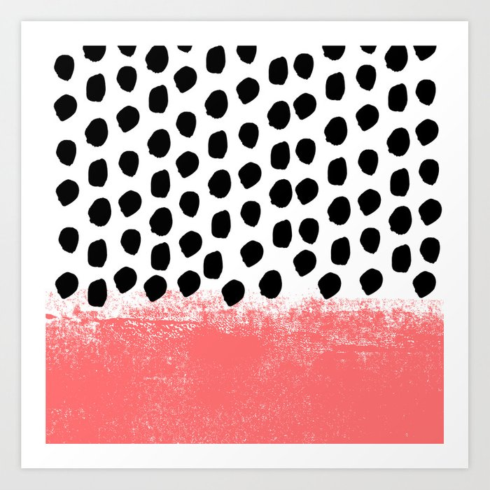 da393917cedd Lola - painted dot minimal coral black and white trendy abstract home decor  Art Print