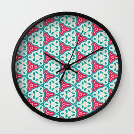 Origami Paper Cyan and Red Triangles Wall Clock