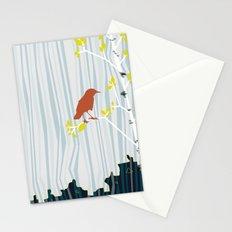 bird in birch Stationery Cards