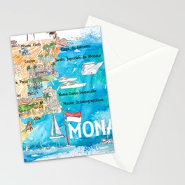 Monaco Monte Carlo Illustrated Map with Landmarks and Highlights Stationery Cards