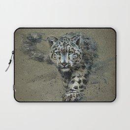 Snow leopard background Laptop Sleeve