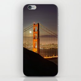 GOLDEN GATE BRIDGE & MOON PHOTO - SAN FRANCISCO NIGHT IMAGE - CALIFORNIA PICTURE - CITY PHOTOGRAPHY iPhone Skin