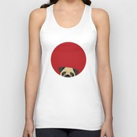 pug Tank Tops featuring Pug by Anne Was Here