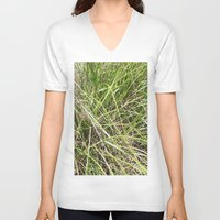 grass V-neck T-shirts featuring GRASS by JANUARY FROST