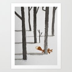 The Fox in the snow Art Print