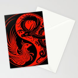 Red and Black Dragon Phoenix Yin Yang Stationery Cards