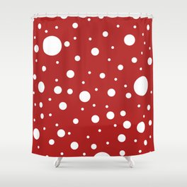 Mixed Polka Dots - White on Firebrick Red Shower Curtain