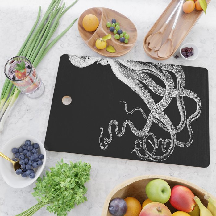 Half Octopus (Left Side) | Vintage Octopus | Diptych | Black and White | Cutting Board