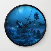 submarine Wall Clocks featuring Submarine by Misko Stanisic