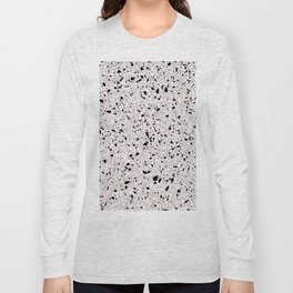 'Speckle Party' Pink Black White Dots Speckle Terrazzo Pattern Long Sleeve T-shirt