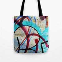 grafitti Tote Bags featuring New grafitti design by Sw19Gallery