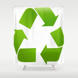 Green Recycle symbol on white background Shower Curtain