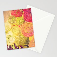 Red Gold and Green -- Ranunculus Flowers Still Life Painterly Stationery Cards