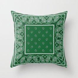 Classic Green Bandana Throw Pillow