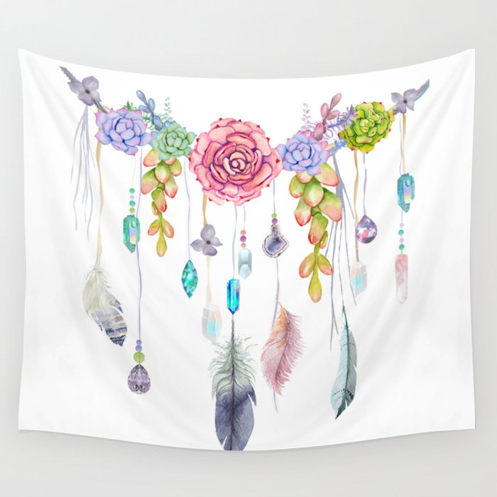 Spirit Gazer With Crystals And Succulents Wall Tapestry