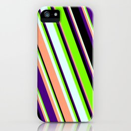 Eye-catching Green, Light Cyan, Light Salmon, Indigo & Black Colored Lines/Stripes Pattern iPhone Case