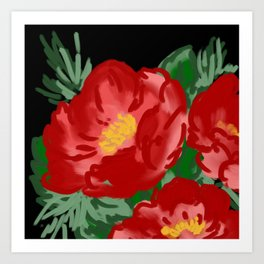 Painted red flowers -  Wild rose Art Print