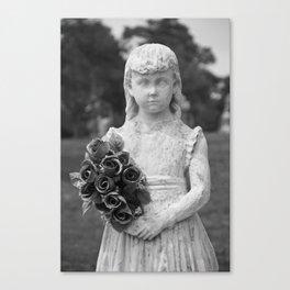 Girl Statue Closeup Black & White Canvas Print