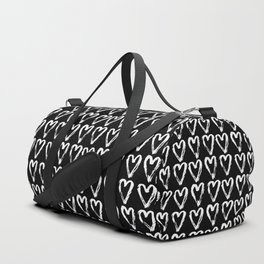 Black & White-Love Heart Pattern- Mix & Match with Simplicty of life Duffle Bag