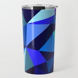 Wooden Geo Blue Travel Mug