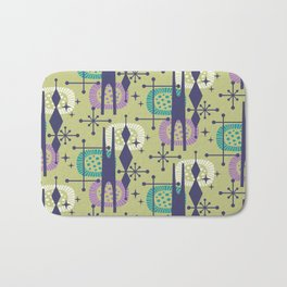 Retro Atomic Mid Century Pattern Blue Green Purple and Turquoise Bath Mat