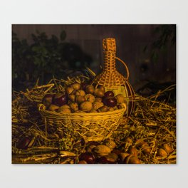 Still-life with nuts and wine Canvas Print