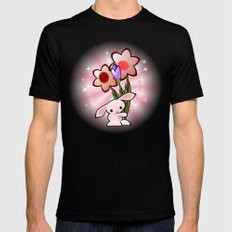Little Pink Bunny With Flowers Mens Fitted Tee MEDIUM Black