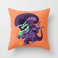 xenomorph Throw Pillows featuring Cute Xenomorph by nocturnallygeekyme