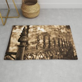 Sepia Antique Cast Iron Fence Rustic Abstract Photograph Rug