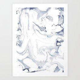 Marble light gray indigo Art Print
