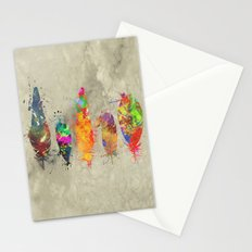 Painted feathers Stationery Cards