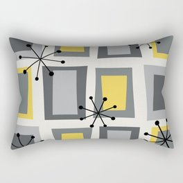 Mid Century Modern Art 'Wonky Doors' Yellow Gray Rectangular Pillow