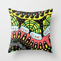 psycho Throw Pillows featuring Psycho by Saif Chowdhury