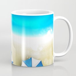 Couple of umbrellas on the beach, graphic art Coffee Mug