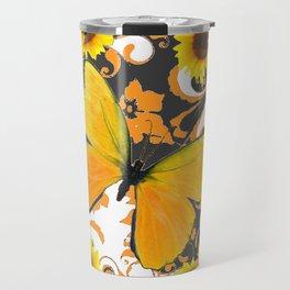GOLDEN BUTTERFLY & SUNFLOWERS ARABESQUES Travel Mug
