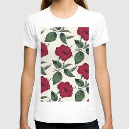 Botanical vintage dark red green ivory floral T-shirt