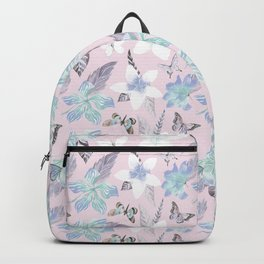 Modern tropical pink blue watercolor butterfly floral Backpack
