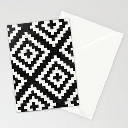 Urban Tribal Pattern No.17 - Aztec - Black and White Concrete Stationery Cards