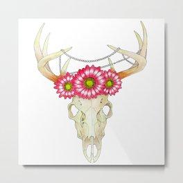 Deer Skull, pearls and Flowers Metal Print