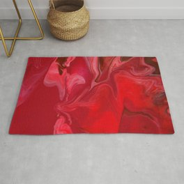 Fluid Nature - Burning Reds - Abstract Acrylic Pour Art Rug